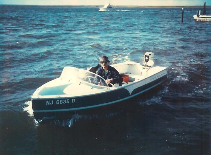 Old Mercury engine on a wooden boat circa 1970