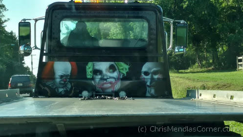 This Flatbed showed up decorated with Killer Clowns.