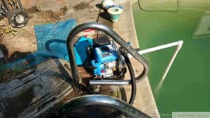 Gas Powered Pump to help drain the pool.