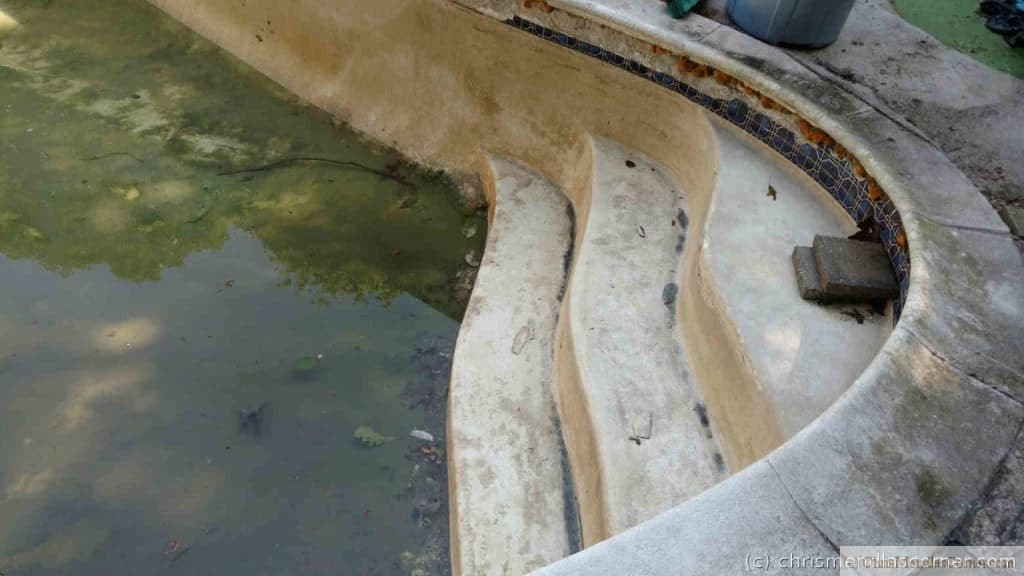 Water level dropping below the steps