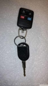 Patched key fob close up