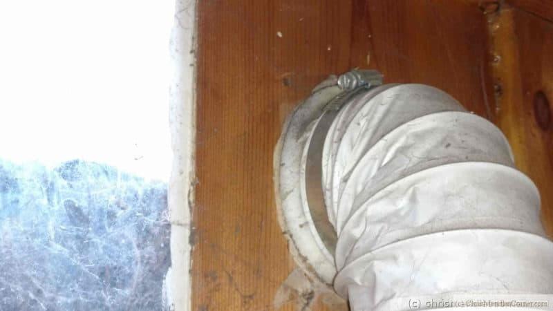 A closeup of the dryer vent hose