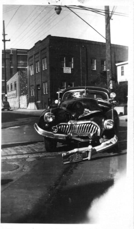Crashed Car in the early 1950's. Stiles and Orthodox streets, Philadelphia, PA