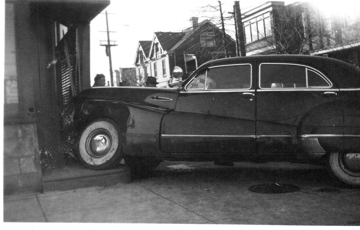 Car crashed into a candy store in the early 1950's. Stiles and Orthodox streets, Philadelphia, PA
