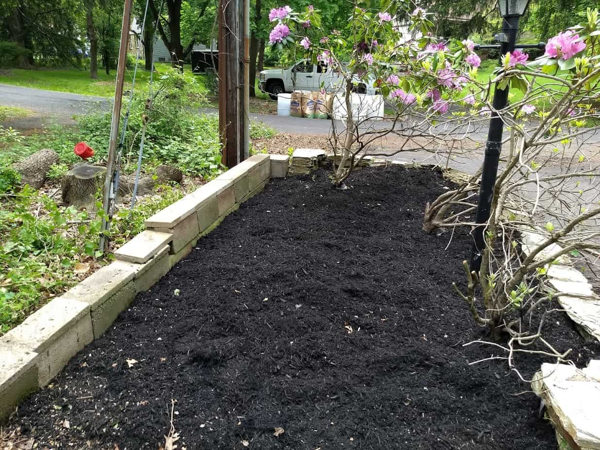 Cinder block wall addition to flower bed