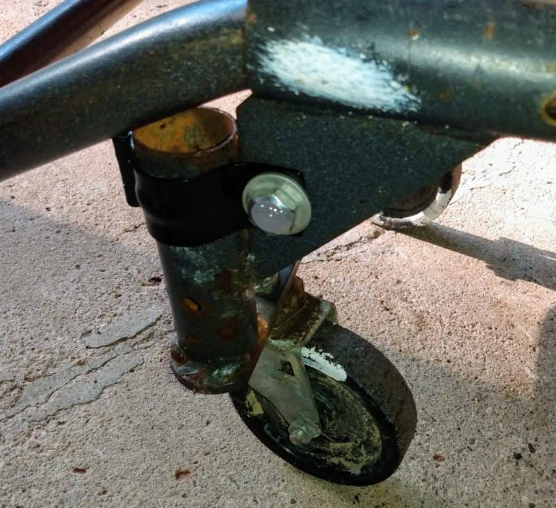 Another view of the repair for a broken weld on a hand truck / dolly