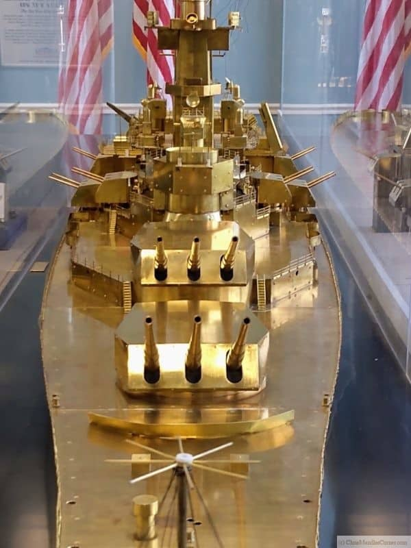 Bow of the model of the USS New Jersey