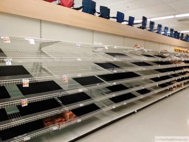 empty bread aisle