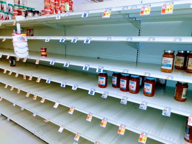 Empty Shelves at the food store.