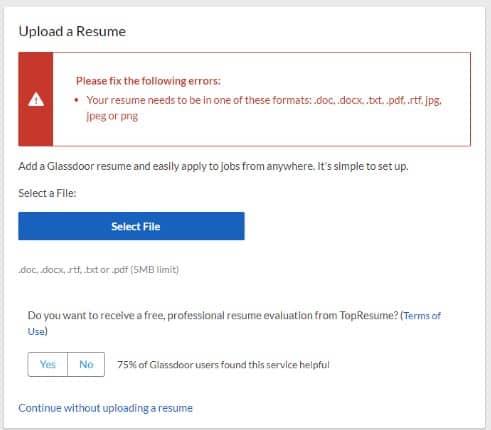 Glassdoor file type error resume upload